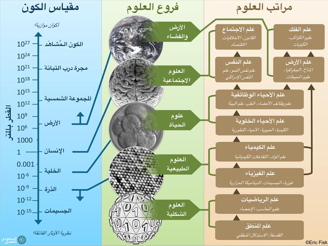 رسم لمراتب العلوم وفروعها مقارنةً بالكون